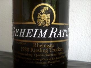 Flaschenetikett Geheimrat J 1988