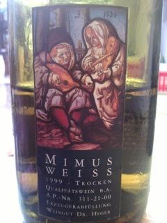 Flaschenetikett Mimus 1999